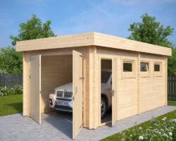 Holzgarage C mit Doppeltür für die Eigenmontage
